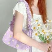 小雛菊仙女褶皺hobo腋下包帆布單肩斜挎小包包女IG熱門款側背包