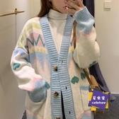 針織開衫 毛衣女秋冬裝2020新款韓版復古v領針織開衫外套寬鬆慵懶外穿線衫