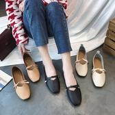 平底單鞋女韓版豆豆鞋蝴蝶結方頭軟底百搭復古奶奶鞋    蘑菇屋小街