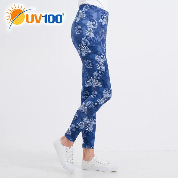 UV100 防曬 抗UV-印花彈性內搭褲-女