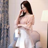 新款韓版短袖一字領露肩蕾絲網紗寬鬆甜美上衣LJ6839『小美日記』