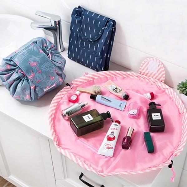韓式懶人化妝包 大容量抽繩化妝包收納神器 旅行必備 抽繩袋 束口袋 洗漱包 盥洗包【RB498】