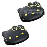 〔小禮堂〕Hello Kitty 造型安全帶調整器《2入.黑.金線.大臉》安全帶固定器 4905339-86621