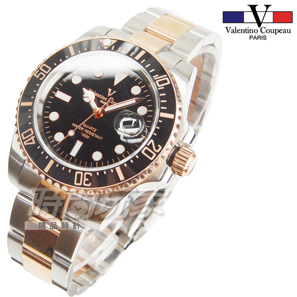 valentino coupeau范倫鐵諾 不銹鋼陶瓷男錶 女錶 中性錶 防水手錶 黑x玫瑰金 V61589玫黑