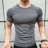 運動科技緊身衣短袖彈力健身衣男圓領速乾速乾教練跑步訓練短袖