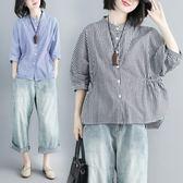 格子襯衫女立領蝙蝠袖上衣胖mm韓版寬鬆大尺碼收腰顯瘦襯衣