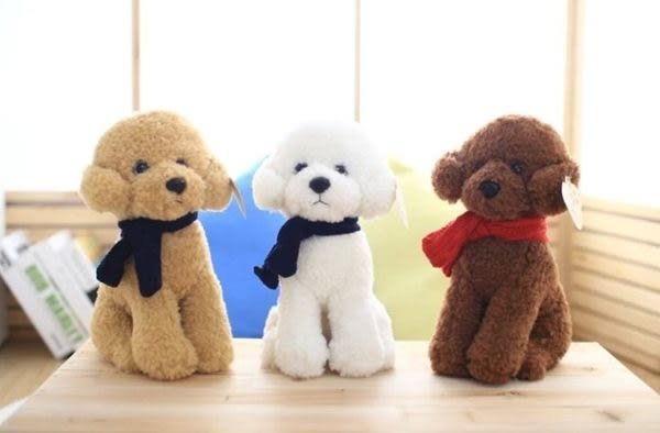 【現貨】【23公分】小號 圍巾泰迪狗 寵物狗 小狗玩偶 仿真玩偶 抱枕絨毛娃娃