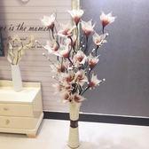 葉脈干花客廳落地仿真假花 插花藝天然干樹枝 新房婚房玫瑰裝飾花 【PINKQ】