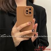 IG秋冬簡約棕色適用iPhone13\/12promax蘋果11手機殼7\/8p純色x\/xr【西語99】