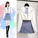VK精品服飾 韓國學院風雪紡衫刺繡裙套裝長袖裙裝
