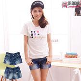 短褲--獨特個性Rock印圖水波紋刷色牛仔短褲(S-7L)-R75眼圈熊中大尺碼★