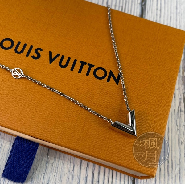 BRAND楓月 LOUIS VUITTON LV 路易威登 M63197 銀ESSENTIAL V項鍊 首飾 綴飾 墜鍊