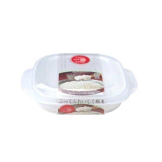 〔小禮堂〕日本NAKAYA 日製方形透明可微波白飯保鮮盒《白》270ml.便當盒.餐盒 4955959-14490