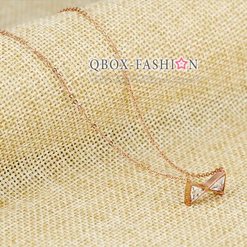 《 QBOX 》FASHION 飾品【W10001081】精緻秀氣蝴蝶結鋯石玫瑰K金316L鈦鋼墬子項鍊(玫瑰金/銀色)