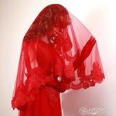 新娘婚紗頭紗新款韓式2020紅色蓋頭短款簡約結婚蕾絲超長復古拖尾 小城驛站
