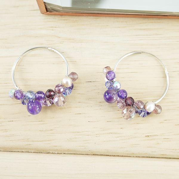 【粉紅堂 飾品】甜美串珠圈圈耳環 *葡萄紫*