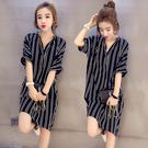 加寬加大碼中長長版條紋短袖襯衫連身裙洋裝 - YU-1121
