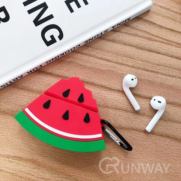 西瓜 切片 Airpods / Airpods2 蘋果耳機 創意 可愛 矽膠保護套 附掛勾 防摔套 軟殼 收納盒 耳機盒外殼