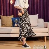 年新款半身裙女夏中長款黑色半身裙魚尾裙碎花半身裙小雛菊女 蘇菲小店