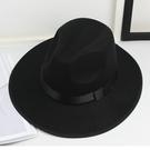 紳士帽 上海灘復古黑色大檐英倫爵士帽禮帽男女士舞臺兒童表演帽子 快速發貨