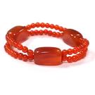 紅瑪瑙長方柱與雙串小珠彈性手環...