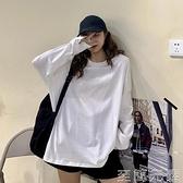 網紅長袖t恤女ins潮新款秋季寬鬆韓版學生bf風白色打底衫上衣 雙十二全館免運