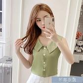 無袖襯衫夏季新款短款娃娃領無袖襯衫女韓版顯瘦復古學生襯衣上衣 快速出貨