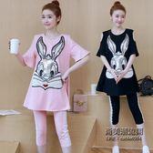 孕婦套時尚款短袖兔子上衣 正韓中褲潮媽兩件套