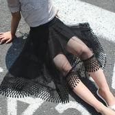 618好康又一發女童半身長裙夏新款正韓時尚蕾絲黑色網紗裙小女孩不規則裙子