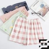 大碼短褲睡褲女夏全棉居家褲寬版格子薄款休閒【左岸男裝】
