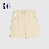 Gap男幼童 簡約風素色鬆緊短褲 878750-米黃色