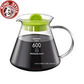 金時代書香咖啡 Tiamo 耐熱玻璃咖啡壺 600cc 圓把手 綠色HG2220G