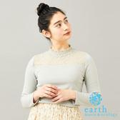 「Spring」透膚蕾絲拼接長袖上衣 - earth music&ecology