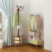 創意轉角衣帽架簡約現代臥室掛衣服的架子經濟型落地客廳掛包衣架igo