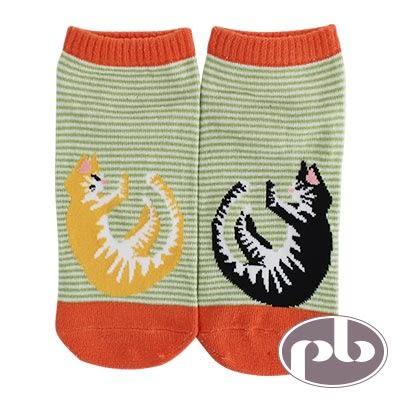 貝柔 貓咪伸懶腰船型襪3入