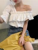 一字肩上衣夏季新款韓版短袖露肩鎖骨上衣女設計感小眾心機襯衫一字領襯衣潮 雙11 伊蘿