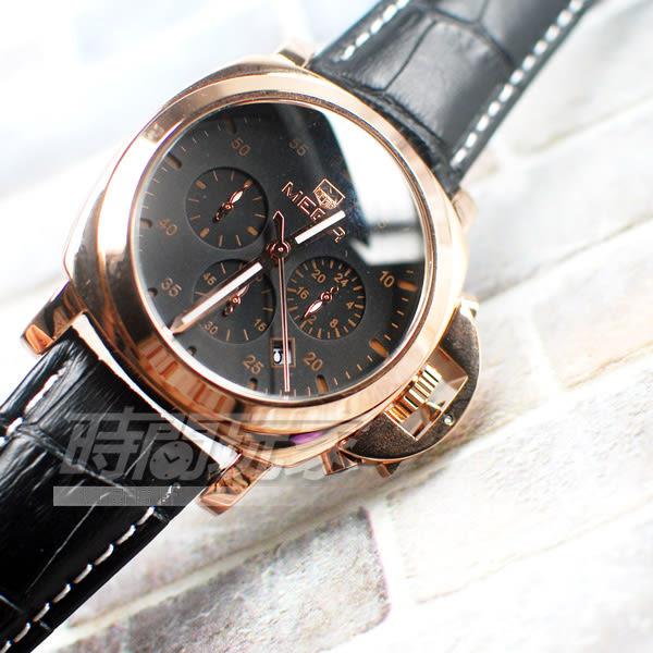 MEGIR 不對稱 大錶徑真三眼時尚男錶 防水手錶 日期顯示 皮革錶帶 玫瑰金x黑 ME3006玫黑