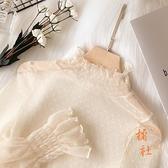 雪紡衫女網紗高領蕾絲打底衫長袖薄洋氣顯瘦紗衣【橘社小鎮】