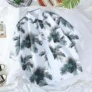 夏威夷花襯衫男潮牌復古寬鬆休閒男裝港風chic情侶沙灘短袖襯衣男 星河光年