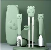 吃飯訓練套裝筷子訓練筷寶寶吃飯勺子叉學習練習套裝家用小孩餐具男孩一段【快速出貨】