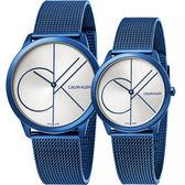 Calvin Klein CK Minimal 經典大LOGO對錶-白x藍 K3M51T56+K3M52T56