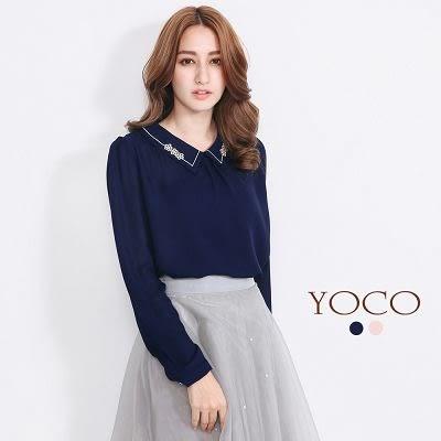 東京著衣【YOCO】自訂款刺繡襯衫領雪紡上衣-S.M(5018538)