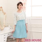 【RED HOUSE 蕾赫斯】花朵蕾絲蝴蝶結假兩件式洋裝(淺藍色)