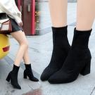 短靴 2020春秋新款高跟瘦腿彈力靴尖頭粗跟中筒女靴英倫風馬丁靴子 店慶降價