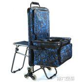 畫架包 炫彩藍拉桿多功能畫袋車畫椅畫板包畫包車大容量折疊美術寫生車 第六空間