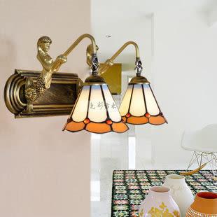 設計師美術精品館歐式田園地中海帝凡尼美人魚雙頭壁燈鏡前燈床頭燈飾燈具PD166-5