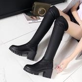 過膝長靴女2019冬季新款百搭顯瘦平底中粗跟彈力高長筒加絨棉靴子