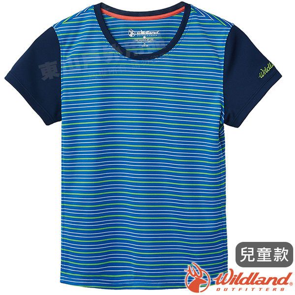 Wildland 荒野 0A61661-77中藍色 中童涼感圓領條紋上衣 抗UV/輕柔透氣/吸濕快乾/休閒上衣/親子裝*