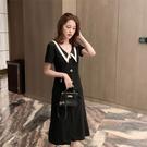 洋裝 連身裙網紅定制連身裙v領短袖中長款高腰娃娃領黑色復古氣質韓版4F039.依品國際