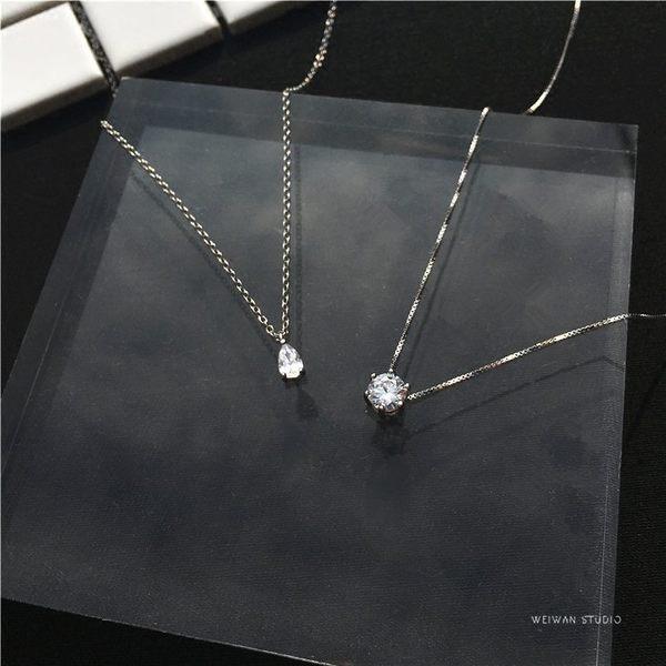 短項鍊簡約單鋯石吊墜鎖骨鍊韓國版復古精致閃氣質雙11購物節必選